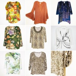 Chicos Sz 0 Tops Printed and Embellished Set of 8